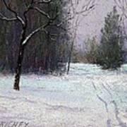 Trees In A Winter Fog Print by Bob Richey