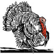 Turkey, Woodcut Print by Gary Hincks