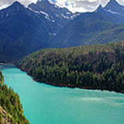 Turquoise Water Of Diablo Lake In The North Cascades Np Print by Pierre Leclerc Photography