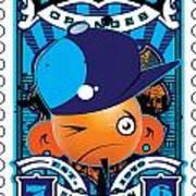 Umgx Vintage Studios Blues Orange Punk Illustrated Stamp Art Print by David Cook  Los Angeles Prints