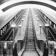 Underground Escalator Print by Archive Photos