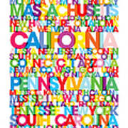 United States Usa Text Bus Blind Print by Michael Tompsett