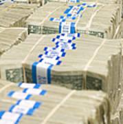 Us Dollar Bills In Bundles Print by Adam Crowley