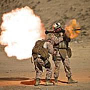 U.s. Marine Fires A Rpg-7 Grenade Print by Terry Moore
