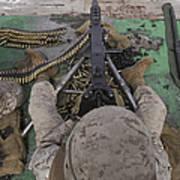U.s. Marine Fires An M2 .50-caliber Print by Stocktrek Images