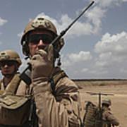 U.s. Marine Uses A Radio In Djibouti Print by Stocktrek Images