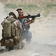 U.s. Marine Watches An Afghan Police Print by Terry Moore