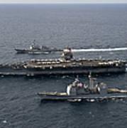 U.s. Navy Ships Transit The Atlantic Print by Stocktrek Images