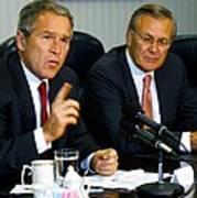 U.s. President George W. Bush Answers Print by Everett
