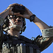 U.s. Special Operations Soldier Looks Print by Stocktrek Images