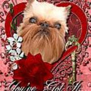 Valentines - Key To My Heart Brussels Griffon Print by Renae Laughner