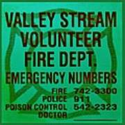 Valley Stream Fire Department In Irish Green Print by Rob Hans