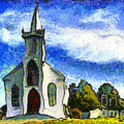 Van Gogh.s Church On The Hill 7d12437 Print by Wingsdomain Art and Photography