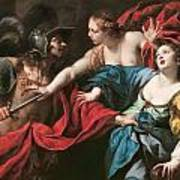 Venus Preventing Her Son Aeneas From Killing Helen Of Troy Print by Luca Ferrari