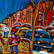 Verdun Rowhouses With Hockey - Paintings Of Verdun Montreal Street Scenes In Winter Print by Carole Spandau