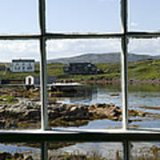 View Of A Harbor Through Window Panes Print by Pete Ryan