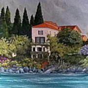 View Of Varenna Print by Linda Scott