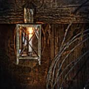 Vintage Lantern Hung In A Barn Print by Jill Battaglia