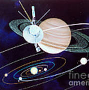 Voyager Saturn Flyby Artwork Print by Science Source