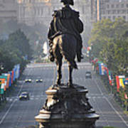 Washington Looking Down The Parkway - Philadelphia Print by Bill Cannon
