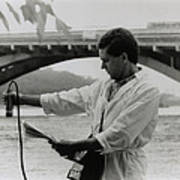 Water Engineer Monitoring Radiation In River Print by Ria Novosti