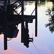 Water Reflection Of A Fisherman Print by Judy Via-Wolff