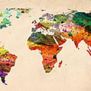 Watercolor World Map  Print by Mark Ashkenazi