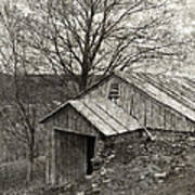 Weathered Hillside Barn Print by John Stephens