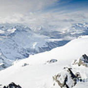 Weissfluhgipfel Summit View From The Summit Across Davos Print by Andy Smy