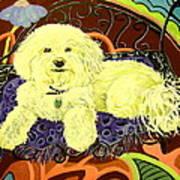 White Dog In Garden Print by Patricia Lazar