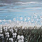 White Wildflower Breeze Print by Christine Krainock