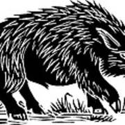 Wild Boar, Woodcut Print by Gary Hincks