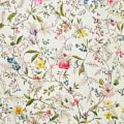 Wild Flowers Design For Silk Material Print by William Kilburn