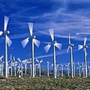 Wind Turbines, California, Usa Print by David Nunuk