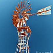 Windmill Rust Orange With Blue Sky Print by Rebecca Margraf