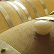 Wine Barrel Detail In Cellar At Winery Print by James Forte
