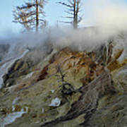 Winter At Yellowstone's Mammoth Terrace Print by Bruce Gourley