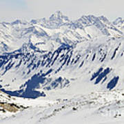 Winter In The Alps - Snow Covered Mountains Print by Matthias Hauser