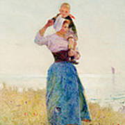 Woman And Child In A Meadow Print by Hector Caffieri