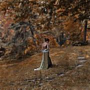 Woman In Green Gown  Print by Jill Battaglia