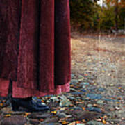 Woman In Vintage Clothing On Cobbled Street Print by Jill Battaglia