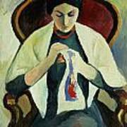 Woman Sewing Print by August Macke