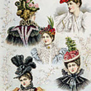 Womens Hat Designs For April, 1897 Print by Everett