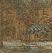 Woodcut Cabin Print by Jim Finch