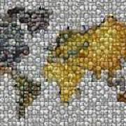 World Map Coin Mosaic Print by Paul Van Scott