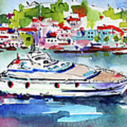 Yachting Off The Coast Of Amalfi Italy Watercolor Print by Ginette Callaway