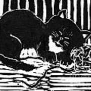 Yarn Cat  Block Print Print by Ellen Miffitt