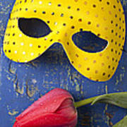Yellow Mask And Red Tulip Print by Garry Gay