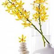 Yellow Orchid Bunchs Print by Atiketta Sangasaeng