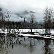 Yosemite River View In Snowy Winter Print by Jeff Lowe
